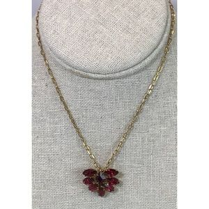 Vintage Red Crystal Gold Tone Statement Necklace
